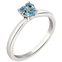 Silver Dew 925 Sterling Silver Solitaire Heart Blue Topaz Ring