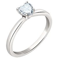 Silver Dew 925 Sterling Silver Solitaire Heart White Ring