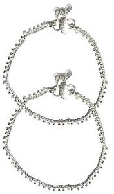Beadworks Silver Plated Silver Alloy Anklets For Women