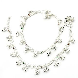 Beadworks Non Plated Silver Alloy Anklets For Women