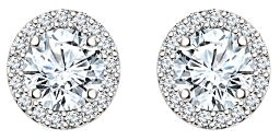 Silver Dew 925 Sterling Silver Halo Round White CZ Diamond Earring