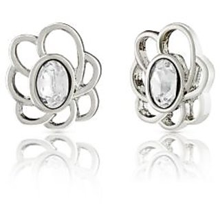 Mahi Rhodium Plated White Oval Floral Earrings Made With Swarovski Elements For Women Er1194111Rwhi