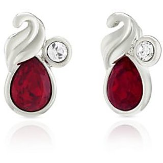 Mahi Rhodium Plated Red Marquise Peacock Earrings Made With Swarovski Elements For Women Er1194114Rred