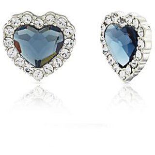 Mahi Rhodium Plated Montana Blue Titanic Heart Earrings Made With Swarovski Elements For Women Er1194118Rblu