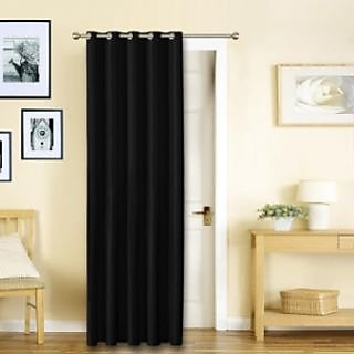 Story@Home Black Premium Blackout Eyelet 1 pc Door Curtain-DBK5001
