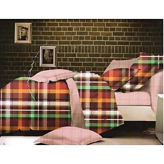 Valtellina Checkred Design King Size 3Pcs  Bedsheet Set (ECD-023)