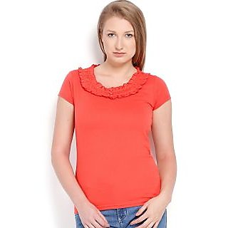 Espresso Women's Frill Top-Red