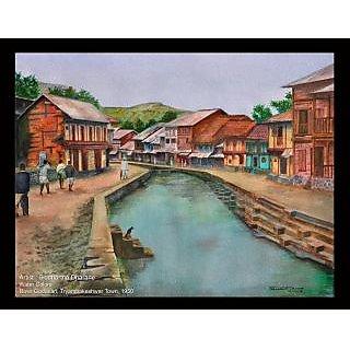 Beautiful rare water color painting of River Godavari at its origin.