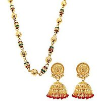 Red And Green Ethnic Chain And Red Beaded Jhumki Combo