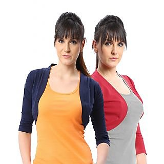 ESPRESSO WOMEN PACK OF 2 SHRUGS - NAVY/RED