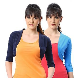 ESPRESSO WOMEN PACK OF 2 SHRUGS - NAVY/AQUA