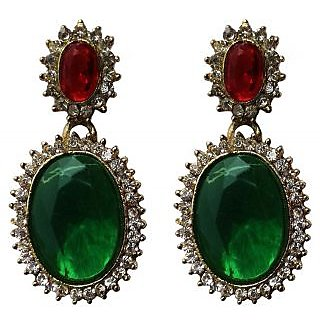 Fashion Green Drop Earrings - 10025