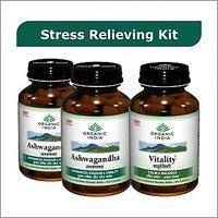 Stress Relieving Kit - 2 ASHWAGANDHA Bottles + 1 VITALITY Bottle Capsules
