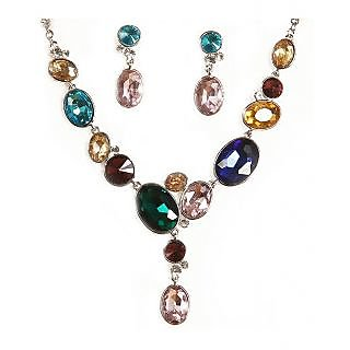 Urthn Multicolor Stone Fancy Necklace Set - 1103044