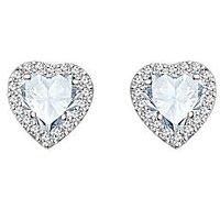 Silver Dew 925 Sterling Silver Halo Heart White CZ Diamond Earring