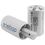 SANYO ENELOOP BRAND NEW Spacers Adapters AA To D'Size Battery 2Pcs BEST USEABLE