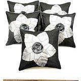 Laser Leaves Patch Cushion Cover Black/silver(5 Pcs Set)