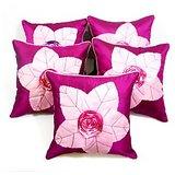 Laser Leaves Patch Cushion Cover Purple/pink(5 Pcs Set)