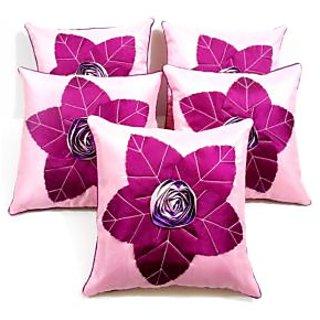 Laser Leaves Patch Cushion Cover Pink/purple(5 Pcs Set)