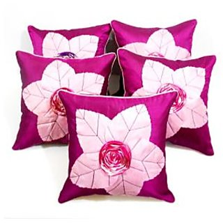 laser leaves Patch cushion Cover purple/pink(5 Pcs Set)