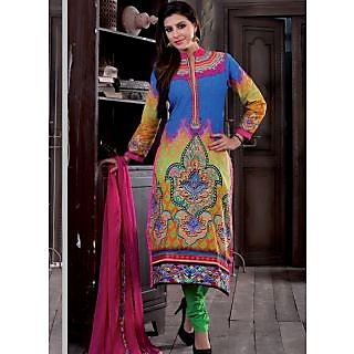 Femina kart Multi Colour Faux Georgette Dress Material (Unstitched)