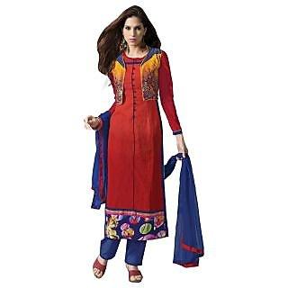 Triveni Fabulous Red Colored Cotton Salwar Kameez With Jacket TSXHMSK3496