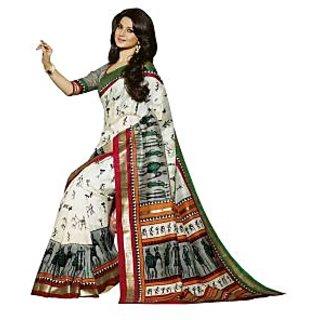 Bhavi Printed Minakari Silk Sari with Foil Print(BHVP12513)