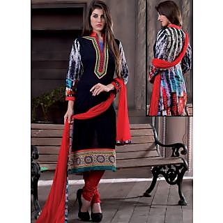 Summer Floral Faux Georgette Black And Red Suit. (Unstitched)