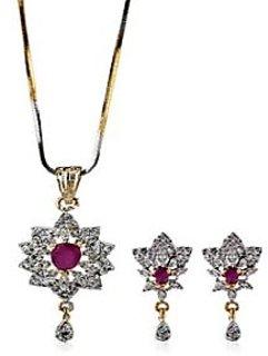 Sheetal Jewellery Floral Red Colour Pendant Set