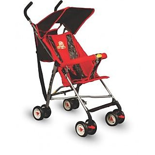 Panda Foldable Baby Stroller With Upper Canopy - Red