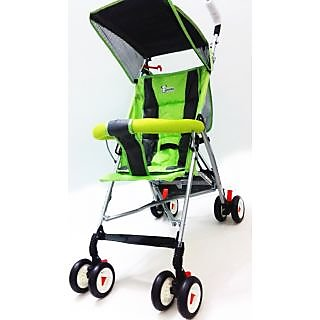 Panda Foldable Baby Stroller With Upper Canopy - Green