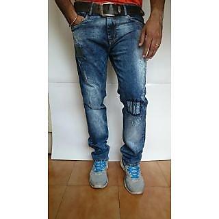 Indigo Men's Fading Slim Fit Blue Jeans