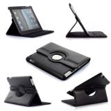 Black 360° Rotating Swivel Stand Smart Cover Pu Leather Carry Case For Apple New Ipad 3 Ipad3