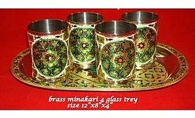 Satya brass meenakari glass and tray set