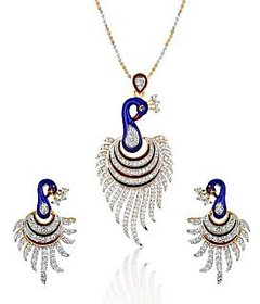 The Pari's Meena Peacock Pendant With Earrings