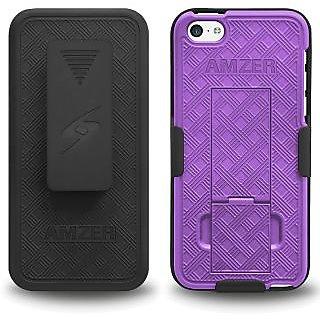 Amzer 96648 Shellster Kickstand - Black/ Purple iPhone 5C