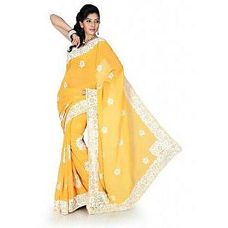 Vaishnavi Fashion Party Wear Chiffon Yellow Saree