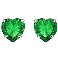 Silver Dew 925 Sterling Silver Valentine Soliatire Heart Emerald Earring