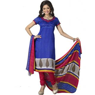 Blue Color Silk Straight Cut Salwar Suit
