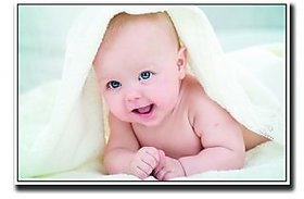 Baby with beautiful eyes & towel Poster