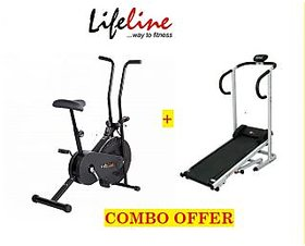 Combo Of Lifeline Manual Treadmill +Lifeline Manual Static Cycle Lcd Monitor
