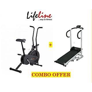 Combo Of Lifeline Manual Treadmill +Lifeline Manual Static Cycle Lcd Monitor