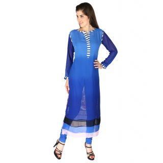 Aanchal Clothing for Women, Blue Kurti_ZEBRA CROSSING