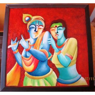2435256ce378 Hand-Made Clay Painting(Size 22X 22 quot  Framed)-Radha Krishna -1 ...