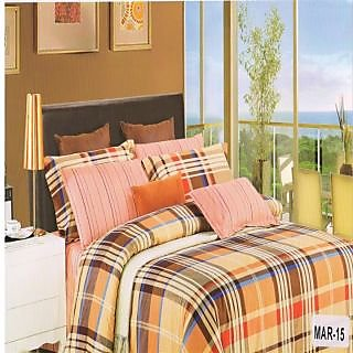 Valtellina Cotton Checkered Design Double Bedsheet & Two pillow Cover (Mar-15)