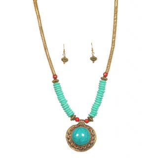 Urthn Pretty Necklace Set in Blue- 1103341