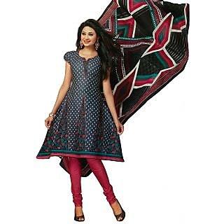 Salwar Studio Women's Churidar Kameez With Dupatta Grey & Pink