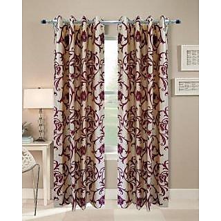 Homefab India Set Of 2 New Breeze Cream Maroon Door Curtain(HF039)