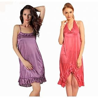 7da844adf2b Klamotten Women S Attractive Combo Of Two Nightwear Purple   Pink Prices in  India- Shopclues- Online Shopping Store