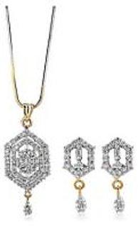Sheetal Jewellery 6 Edge Cz Pendant Set